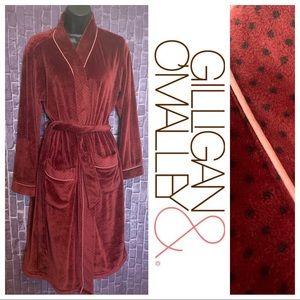 Burgundy Polka Dot Plush Velour Robe